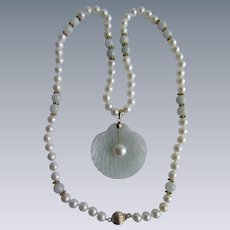 Little Creations 14kt Gold Jadeite and Cultured Pearl Beads with Carved Jadeite Half Shell Pendant and Bead Necklace