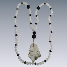 Little Creations Wired Marble Stone Pendant with Jet, Hematite and  Frosted Glass Bead Necklace