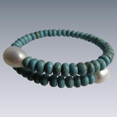 Little Creations Memory Wire Wrap Turquoise and Freshwater Cultured Pearl Ends Bracelet