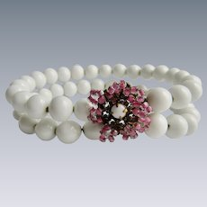 Signed Miriam Haskell Milk Glass and Pink Glass Bead Gilt Filagree Memory Wire Wrap Cuff Bracelet