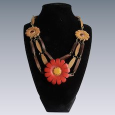 Unsigned Vintage Painted Wood Flower Motif Triple Strand Necklace