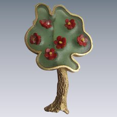 Vintage Signed Joy Resin Plique a Jour Stained Glass Resin Brutalist Style Green And Red Apple Blossom Tree GP Brooch