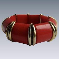 Vintage Red Bakelite Stretch Link Bracelet with Brass Spacers