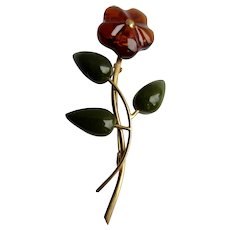 Vintage GP Genuine Carved Natural Amber and Carved Nephrite Jade Flower on Stem with leaves Brooch