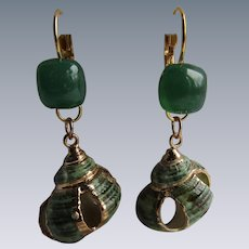 Little Creations GP Natural Shell and Green Cushion Glass Cabochon Lever back Pierced Earring