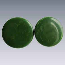 Vintage Large Scale Green Marbled Bakelite Pierced Earrings
