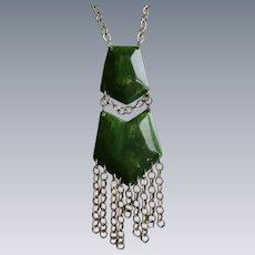 Vintage Green Marbled Bakelite GP Fringe Chain Pendant Necklace