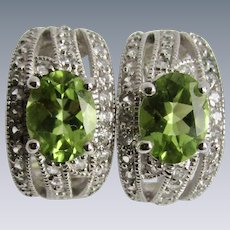Vintage Silver Omega Peridot and Cubic Zirconia Facetted Gemstone Pierced Earrings