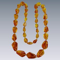 Vintage Graduated Natural BALTIC Amber Clarified Twisted Bead 32 Inch Necklace