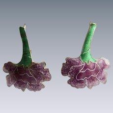 Vintage Sterling Silver Enamelled 2 Color Flowers Hook Pierced Earrings
