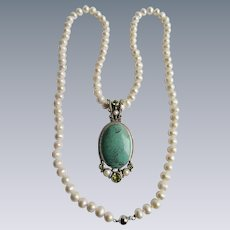 Vintage Turquoise and Genuine Peridot and Cultured Freshwater Pearl Sterling Pendant Enhancer with 8mm 36 Inch Necklace