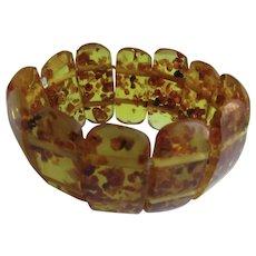 Vintage Natural Baltic Amber Heat Treated Golden Green Curved Hand Carved Link Elastic Bracelet