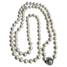 Vintage 14kt White Gold 7.50mm A Plus Quality Akoya Cultured Pearl 32 Inch Strong Rose Overtone Necklace