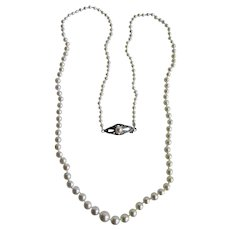 Vintage 850 Britannia Silver Akoya Cultured Pearl AA Quality Dainty Scale Graduated Necklace