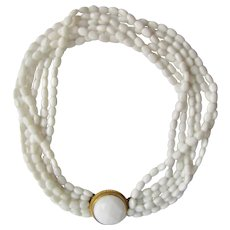 Vintage Milk Glass Rice Shaped Beads 6 strand Torsade Facetted Cabochon Box Clasp Necklace
