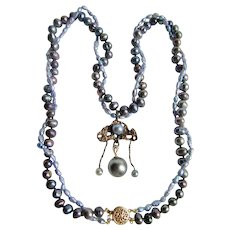 Little Creations 14K Double strand Cultured Freshwater Color Treated Peacock Grey Pearls One Saltwater Cultured Pearl on Pendant Necklace