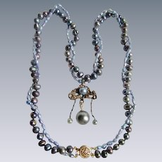 Little Creations 14K Double strand Cultured Freshwater Peacock Grey Pearls One Saltwater Cultured Pearl on Pendant Necklace