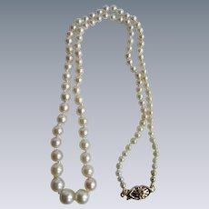 Vintage 14K Lattice Navette Clasp Graduated Akoya Cultured Pearl A Plus Necklace