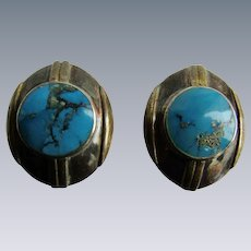 Vintage Turquoise Cabochon Bezel set with Curved Sterling Silver and Gold Plated Pierced Earrings