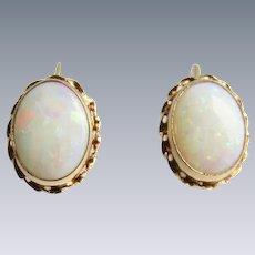 Vintage 14kt Contra Luz Opal Screw Back Earrings