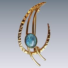 Mid Century GP Opal Cabochon with Beautiful Colour Modernist Brooch