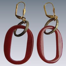 Vintage Bakelite Hoop GP Leverback Earrings
