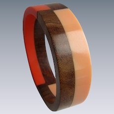 Vintage Peach and Orange Resin and Wood Geometric Design Bangle