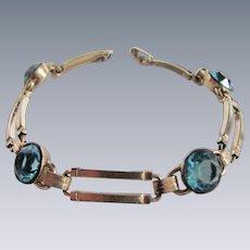 Vintage 10kt GF Engel Brother Hallmarked 4 Aqua Blue Round Paste Link Bracelet