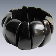 Vintage Black Bakelite Elastic Link Bracelet