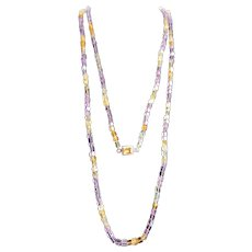 LC Sterling Citrine Emerald Cut Gem in Clasp with Extra Long Cuboid Amethyst, Rock Crystal and Citrine Bead Necklace