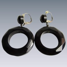 Antique Genuine Whitby Jet (Lignite) Hoop Mourning Jewelry Pierced Earrings