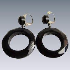 Antique Genuine Whitby Jet (Lignite) Hoop Mourning Jewelry Pierced Earrings