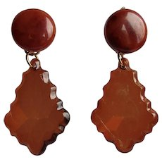 Little Creations Bakelite and Transparent Plastic Dangling GP Leverback Pierced Earrings