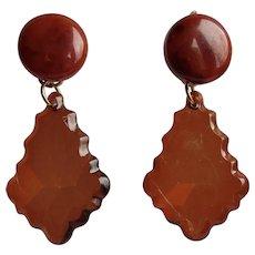Little Creations Bakelite and Transparent Plastic Dangling GP Leverback Pierced Earrings