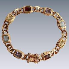 Vintage Sterling Gold Plate Cushion Gemstone Citrine Garnet Peridot Topaz Tennis Link Bracelet