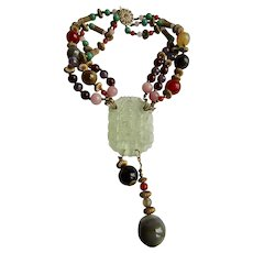 Vintage Signed Miriam Haskell Jadeite Pendant with Glass Givre and Agate Beads 3 strand Necklace