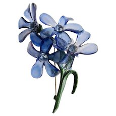Vintage Cellulose Acetate Cornflower Blue and Green Enamelled Stem Rhinestone Huge Brooch