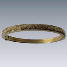 Vintage Signed Marathon 12kt GF Floral Motif Pattern Bangle Bracelet