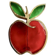 Vintage Signed  Joy Resin Plique a Jour Stained Glass Red and Green Apple GP Brooch