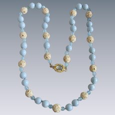 Little Creations 18kt GP Aquamarine Cabochon and beads with Light Blue Galalith Beads and Carved Bone Bead Necklace