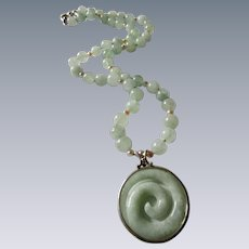 Little Creations Sterling Silver Jadeite Concentric Pendant and Enhanced Jadeite and Cultured Pearl Bead Necklace