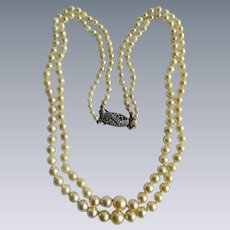 Vintage Natural Saltwater Pearl Double Strand Graduated Necklace with Silver Marcasite Clasp