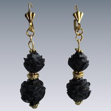 Antique Carved Whitby Jet Dangling GP Lever back Earrings