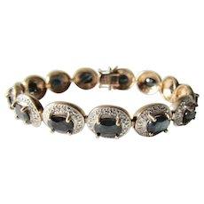 Vintage Genuine Blue Sapphire Tennis Link Gold Plated Sterling Silver Bracelet