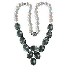 Little Creations Blue Topaz Color Treated and 163 Carat Cultured Freshwater Pearl 850 Silver Setting Necklace