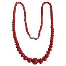 Antique Hand Carved Natural Salmon Red Coral Graduated Bead Necklace