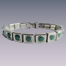 Vintage Chrome & Green Galalith Link Bracelet