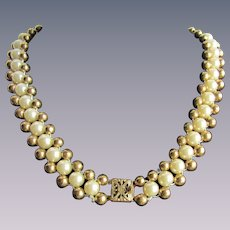 Vintage Woven Simulated Pearls with GP Balls and Filigree Box Clasp Necklace
