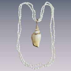 Vintage Cultured Freshwater Rice Pearls and Gold Plated Large Shell Pendant Endless Necklace