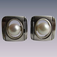 Vintage Silver 950 Cultured Pearl 8mm Cufflinks